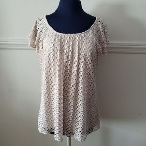Lace Short Sleeved Top L
